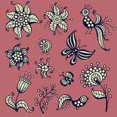 Set of elements for design: birds, butterflies, flowers — Stock Vector