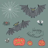 Set of design elements for Halloween in style cartoon: bats, pum — Stok Vektör