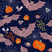 Seamless pattern for a Happy Halloween with bats, spiders, pumpk — Stock Vector