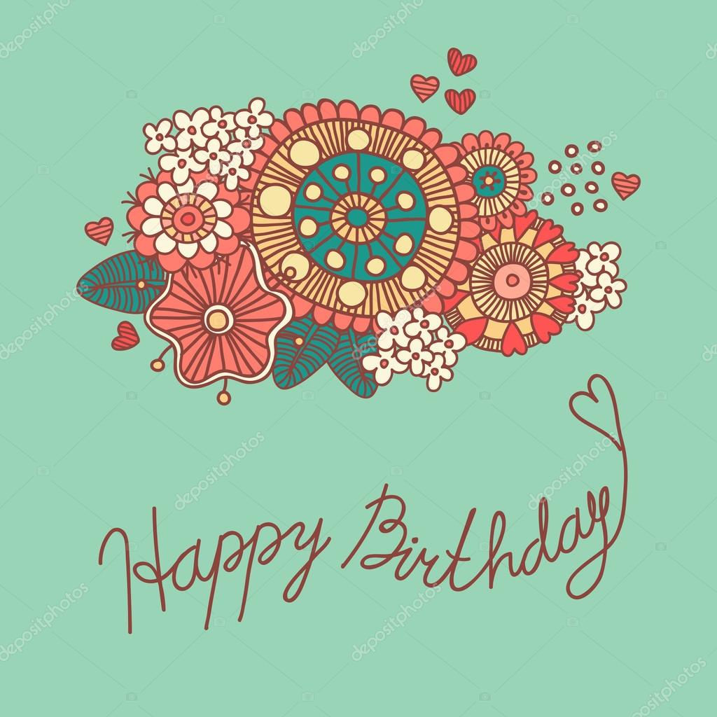 joyeux anniversaire jolie carte avec des fleurs dans le style de la carto image vectorielle. Black Bedroom Furniture Sets. Home Design Ideas
