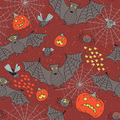 Seamless pattern for a Happy Halloween with bats, spiders, pumpk — Wektor stockowy