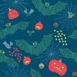 Seamless pattern for a Happy Halloween with bats, spiders, pumpk — Stock vektor