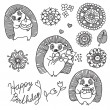 Set of design elements for baby: cute hedgehogs and flowers — Stock Vector