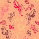 可爱无缝模式与鸟类、 蝴蝶和鲜花 — 图库矢量图片