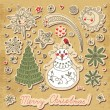 Vintage card with a set of Christmas items. Snowman, Christmas t — Stock Vector