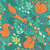 Squirrels in the woods — Stock Vector