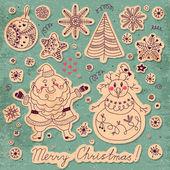 一套圣诞用品的老式卡。圣诞老人、 雪人 — 图库矢量图片
