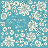 New Year background. Hand drawn snowflakes — Stock Vector