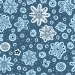 Snowfall. Seamless pattern. Hand drawn snowflakes. Christmas win — Stock Vector
