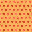 Seamless pattern with pumpkins, skulls, ghosts, hearts and blood — Stok Vektör