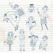 Hand drawn teacher and schoolchildren. — Imagen vectorial