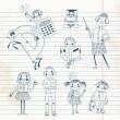 Hand drawn teacher and schoolchildren. — Stock Vector #30667849