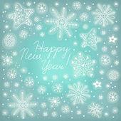 Nowy rok tło. ręcznie rysowane płatki śniegu. — Wektor stockowy