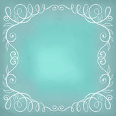 Beautiful turquoise background with frame. Hand drawn calligraph — Vettoriale Stock