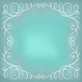 美丽的绿松石背景与帧。手画的书法 — 图库矢量图片
