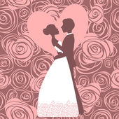 Invito a nozze. silhouette della sposa e dello sposo — Vettoriale Stock