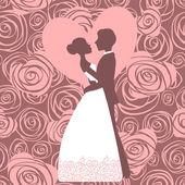 Wedding invitation. Silhouette of bride and groom — Stock Vector