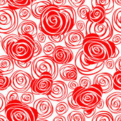 Abstract seamless pattern with hearts and roses — Vector de stock