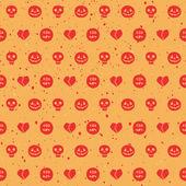 Naadloze patroon met pompoenen, schedels, spoken, hart en bloed — Stockvector