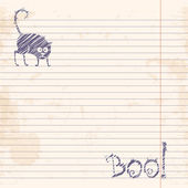 Halloween cat. Boo! Sketch on notebook ruled paper — Stock Vector