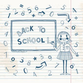 Back to school. Schoolgirl at the blackboard. — Stock Vector