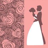 Bruiloft uitnodiging. silhouet van bruid en bruidegom — Stockvector
