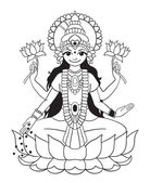 Deusa lakshmi — Vetor de Stock