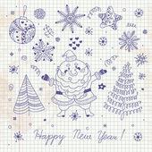Pintados a mano un conjunto de elementos de navidad de diseño — Vector de stock