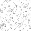 Seamless pattern with chickens, roosters and chickens — Stock Vector