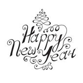 Happy New Year hand lettering — Stock Vector