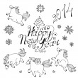 Hand drawn elements for New Year design — Stock Vector