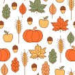 Seamless pattern with pumpkins, leaves, wheat and apples — Stock Vector