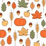 patrones sin fisuras con calabazas, hojas, trigo y manzanas — Vector de stock  #32772733