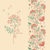 Seamless floral border and flower. — Stockvector
