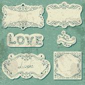 σύνολο vintage κάρτες με καλλιγραφικά στοιχεία — Διανυσματικό Αρχείο
