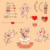 Set Wedding and Valentine's Day design elements in color — ストックベクタ