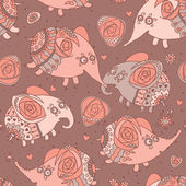 Cheerful seamless pattern with elephants and roses — ストックベクタ