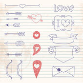 Set Wedding and Valentine's Day doodles — Stockvektor