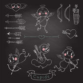 Cupids. Set Wedding and Valentine's Day design elements. — Cтоковый вектор