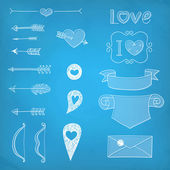 Set Wedding and Valentine's Day design elements — ストックベクタ