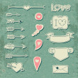 Set Wedding and Valentine's Day design elements. — Stockvektor