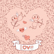 Weddings and Valentine's Day card with cute cupids, arrows, hearts. — Stock Vector