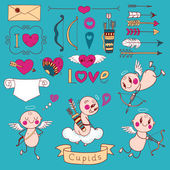 Cupids, arrows, hearts and other design elements — Vector de stock