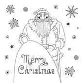 Sketch Christmas card with a mighty Santa. — Stock Vector