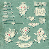 Cupids, arrows, hearts and other vintage elements — Cтоковый вектор
