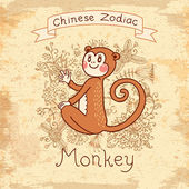 Vintage card with Chinese zodiac - Monkey — Stock Vector