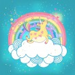Unicorn rainbow in the clouds — Stock Vector #35708997
