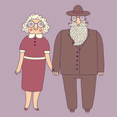 Elderly couple. Grandparents. — Stock Vector