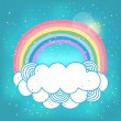 Card with rainbow and cloud. — Stock Vector