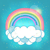 Card with rainbow and cloud. — Vetorial Stock